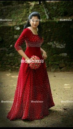 Red Beaded Long Prom Dresses A-Line Evening Formal Dresses Indian Wedding Gowns, Indian Gowns Dresses, Prom Dresses, Indian Reception Dress, Indian Evening Gown, Kerala Engagement Dress, Gown Party Wear, Long Dress Design, Long Gown Dress