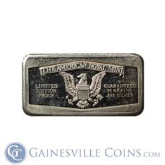 Buy The American Royal Mint 15 Grains Silver Bar oz of Silver At Gainesville Coins. Securely Buy Gold And Silver Online Bullion Coins, Silver Bullion, Buy Gold And Silver, Silver Bars, Selling Online, Grains, Mint, American, Seeds