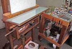 'Painting Studio Tech by Paul Baldassini.' (via Paul Baldassini, Artist) Art Studio Storage, Art Studio Organization, Art Storage, Art Studio Design, Art Studio At Home, Home Art, Painting Studio, Artist Painting, Atelier Creation