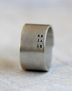 Eco-friendly sterling silver custom band for men or great woman's band too . This wide band ring can be hand stamped with a personalized date, name or anything else you would like. The ring measures high. Because of the hight Key Jewelry, Jewelery, Jewelry For Men, Male Jewelry, Jewellery Earrings, Hippie Jewelry, Silver Jewellery, Jewelry Rings, Wedding Men