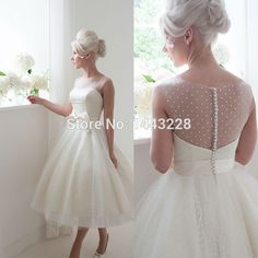 Illusion Neckline Sheer Low Back Ball Gown Polka Dot Tulle Tea Length Wedding Dress with Bow  Bridal Gown vestido de noiva curto-in Wedding Dresses from Weddings & Events on Aliexpress.com | Alibaba Group