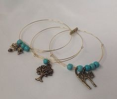 Adjustable Stacking Wire Charm Bracelet by AnnetiqueChic on Etsy