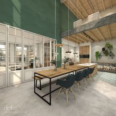 WONING S+G   dot. #dotinterior #interior #interiorarchitecture #3D #3Dvisualisation #classy #oldnew #whitebrick #greenpaint #wood #concrete