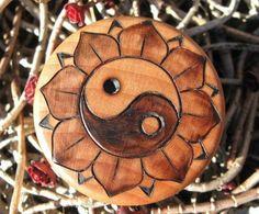 Yin Yang Lotus Blossom Pyrography Woodburning on 1.5 by ArtAfire