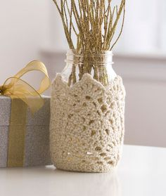 Sparkling Lace Jar Cozy Free Crochet Pattern in Red Heart Yarns