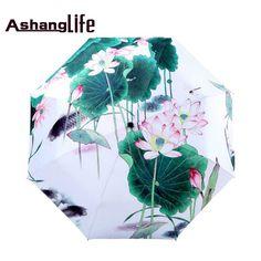 Lotus Flower Sunny and Rainy Umbrella Oil Painting 3 Folding Parasol #Affiliate