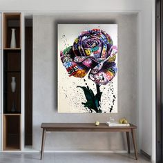 Graffiti Art Rose Flowers Canvas Painting Posters and Prints Wall Art Prints Street Art of Love Nordic Art for Living Room Home