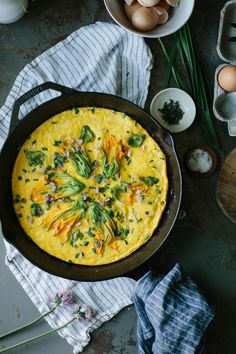 A Daily Something   Squash Blossom Frittata with Chives and Manchego