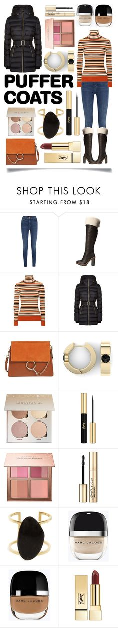 """Stay Warm: Puffer Coats"" by ittie-kittie ❤ liked on Polyvore featuring J Brand, Kate Spade, JoosTricot, Burberry, Chloé, Yves Saint Laurent, Sephora Collection, Smith & Cult, SOKO and Marc Jacobs"