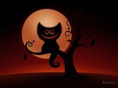 A Cheshire Kitten (Halloween Night) · Desktop wallpapers · Vladstudio