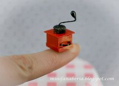 Miniature Coffee Grinder in red colour for your dollhouse in 1:12 scale, made by hand (be my) :)
