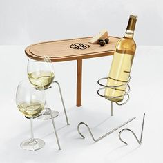 Beach picnic, keep food & wine from falling over with the steady stick table + wine holders  (stick these into the sand)