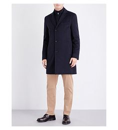 Hugo Boss Water-repellent Double-layered Wool And Cashmere-blend Coat In Dark Blue Formal Coat, Boss Black, Two Pieces, Hugo Boss, Dark Blue, Cashmere, Normcore, Mens Fashion, Moda Masculina