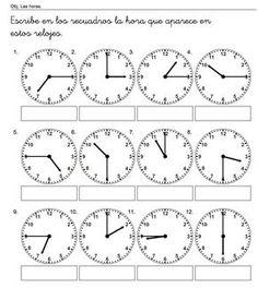 escribe las horas                                                                                                                                                                                 Más Spanish Worksheets, Kindergarten Math Worksheets, 1st Grade Worksheets, 2nd Grade Math, Spanish Classroom, Teaching Spanish, Teaching English, Learn English, Teaching Kids