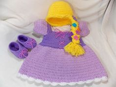 : Princess Rapunzel Inspired Costume Crochet Rapunzel Wig Princess Dress Princess Photo Prop Newborn to 12 Month Size MADE TO ORDER : Your little princess will look adorable in this princess Rapunzel inspired outfit! Set includes dress, wig and shoes. Rapunzel Outfit, Rapunzel Wig, Princess Rapunzel, Little Princess, Princess Photo, Disney Princess, Crochet Baby Costumes, Crochet Baby Clothes, Newborn Crochet