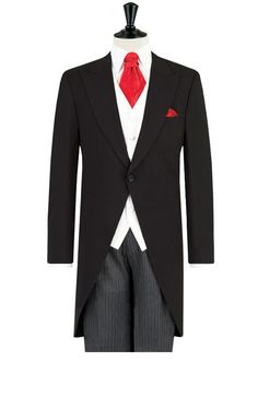Dobell Black Morning Suit with Striped Trousers