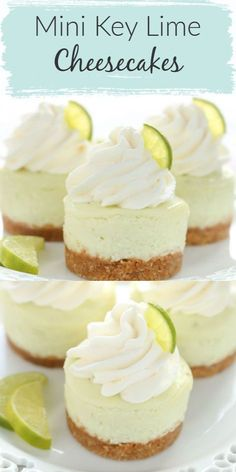 These Mini Key Lime Cheesecakes feature an easy homemade graham cracker crust topped with a smooth and creamy key lime cheesecake filling. Their size make them a perfect fit for parties! These mini key lime cheesecakes are the perfect dessert for any time Mini Cheesecake Cupcakes, Mini Cheesecake Recipes, Mini Cheesecakes, Cupcake Recipes, Key Lime Cupcakes, Oreo Cheesecake, Homemade Cheesecake, Cheesecake Crust Recipe Without Graham Crackers, Key Lime Cheesecake Recipe Easy