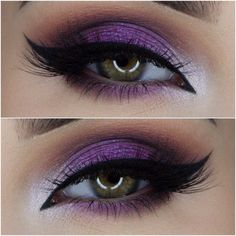 Take a look at the best purple wedding makeup in the photos below and get ideas for your wedding! Maquillage – Make up Image source LOVE this one – the drama and the shimmer and the PURPLE! Purple Wedding Makeup, Purple Eye Makeup, Skin Makeup, Purple Makeup Looks, Wedding Ideas Purple, Purple Eyeshadow Looks, Glitter Makeup, Makeup Geek, Makeup Inspo