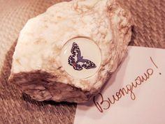 fermacarte con farfalla fossile in resina di papaiameccanica