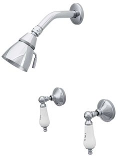 Burbank Wall Mount Shower Faucet With White Porcelain Levers