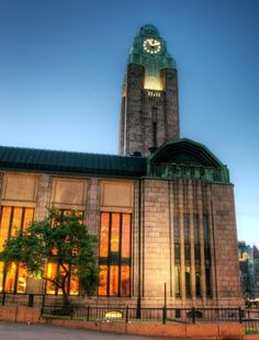 The bell tower of the Central Railway Station is definitely one of the most recognized landmarks in Helsinki, Finland