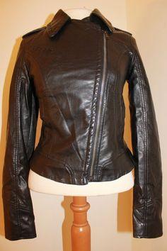 Express Moto Jacket XS Faux Leather Black Coat #Express #Motorcycle
