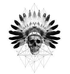 Native American Geometric Skull