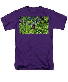 Bluebird Men's T-Shirt (Regular Fit) featuring the photograph Beautiful Bluebird by Cynthia Guinn