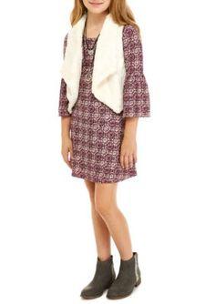 Sequin Hearts Girls Girls 7-16 Long Sleeve Print Dress And Furry Vest Set - Bh Blush - 12