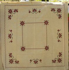 "Handmade Embroidered Decorative Ukrainian Linen tablecloth 145x145 cm / 57x57""  #UkrainianOberig"