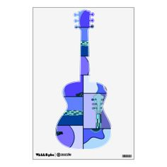 Abstract Acoustic Guitar   Funky Blue Abstract Pop Art Acoustic Guitar Decal Room Sticker from ...