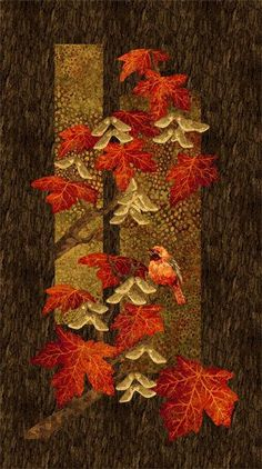 Stonehenge Maplewood - Scarlet Panel by Helene Knott for Northcott Cotton Width: Fiber Art Quilts, Japanese Quilts, Fall Quilts, Landscape Quilts, Quilted Wall Hangings, Stonehenge, Fabric Art, Fabric Panel Quilts, Cotton Fabric