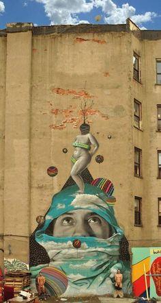 Okuda, imaginative street art, graffiti art, street artists, urban murals, urban art, mr pilgrim art.