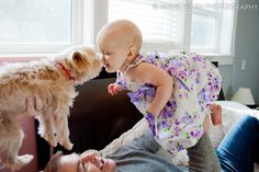 Baby and doggy kisses, family photography by Annie Helen