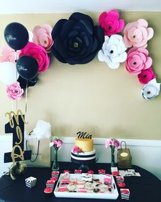Kate spade theme, first birthday party, Pinks , black and gold                                                                                                                                                                                  More