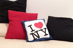 recycled tshirt pillow - I Heart New York