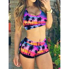 f1315cf12b9b5 Choies Purple Coconut Tree Print Crop Bikini Top and High Waist Bottom  ( 10) ❤