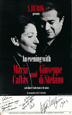 Callas, Maria - Di Stefano, Giuseppe - Sutherland, Robert - Large 1974 Mini Poster Signed by All 3!