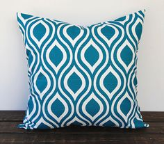 Teal pillow cover One 18 x 18 inches Nicole by ThePillowPeople