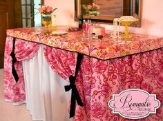 Should make one of these for when I sell crafts.   Tutorial: Voile vanity skirt and laminated cotton table cover · Sewing | CraftGossip.com