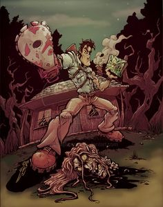 """So exactly a year ago I drew up ole Ash from the """"Evil Dead"""" movies, then last week colored it up pretty sweet, I used a little color adjusting trick on.a year later Evil Dead Movies, Scary Movies, Horror Movies, Funny Horror, Arte Horror, Horror Art, Bruce Campbell Evil Dead, Ash Evil Dead, Monster Board"""