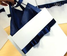 Stylish gift paper bag with Navy Blue satin ribbon handles and male bow - Elegant gifts and favors f Wedding Gift Bags, Wedding Welcome Bags, Elegant Birthday Party, Birthday Party Favors, Blue Satin, Paper Gifts, Elegant Wedding, Holiday Gifts, Navy Blue