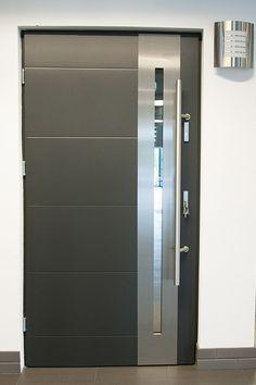 Modern Exterior Doors: Stainless Steel Modern Entry Door with Glass
