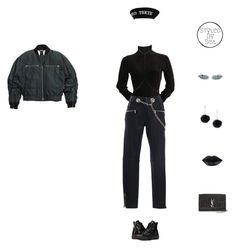 """""""Fli"""" by xseamacx ❤ liked on Polyvore featuring H&M, Alaïa, Miaou, Nadri, Moschino, River Island, Yves Saint Laurent and Converse"""