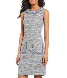 d2a85cd277f KARL LAGERFELD PARIS Tweed Button Front Sheath Dress