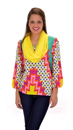 Bright colors and a vibrant print! Just what we need for spring! $39 at shopbluedoor.com!