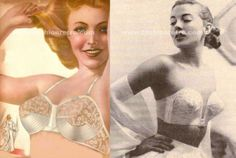 """anos40-50 - Década de 40 e 50         Década de 40 e 50, começou a aparecer sutiã com detalhe de renda e o Formula da Reconquista sutiã """"peito de pombo"""" que aproximava mais os seios, o uso do náilon também começou parte da produção de lingerie."""