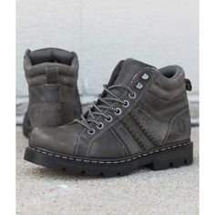 Dr. Martens Calvin Boot - Brown US 9 ($145) ❤ liked on Polyvore featuring men's fashion, men's shoes, men's boots, brown, mens brown boots, mens leather lace up shoes, mens leather lace up boots, mens leather boots and mens brown leather shoes