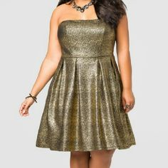 sale! beautiful Ashley Stewart dress 4th of July sale! Shop now  Beautiful gold strapless dress from Ashley Stewart brand new with tags, for all the girls that love to glitter and Sparkle this is definitely for you! You will shine like a diamond in this dress! Beautiful prom dress great price! Ashley Stewart Dresses Strapless