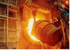 bof converter - pouring off liquid steel
